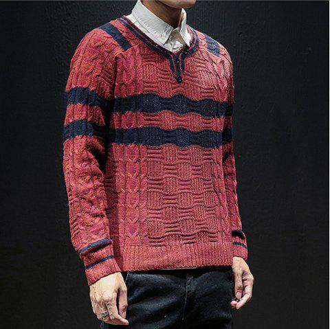 New Men Winter Long Sleeve Sweater Shirt Plus Size Fashion Pullover - RED M
