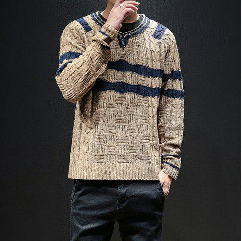 New Men Winter Long Sleeve Sweater Shirt Plus Size Fashion Pullover - COOKIE BROWN M