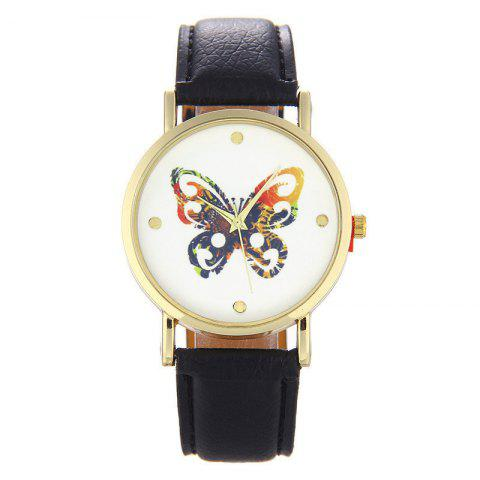 Fashion Butterfly Printed Quartz Belt Watch - BLACK