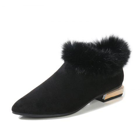 Winter Fur Shoes And Boots - BLACK EU 35