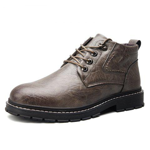 Men Wear-Resistant Non-Slip Trend Casual Shoes High-Cut Tooling Boots - GRAY EU 39