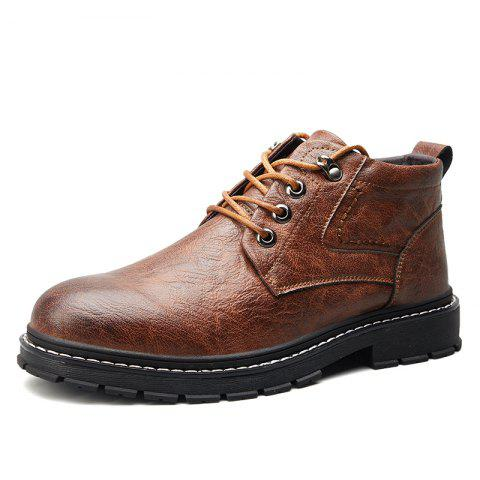 Men Wear-Resistant Non-Slip Trend Casual Shoes High-Cut Tooling Boots - BROWN EU 41