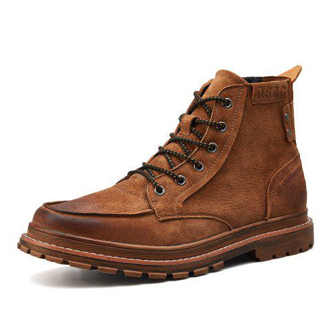 Men Leather Wear-Resistant Anti-Skid Tool Boots Trend Casual Shoes - BROWN EU 40