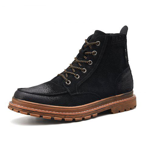 Men Leather Wear-Resistant Anti-Skid Tool Boots Trend Casual Shoes - BLACK EU 41