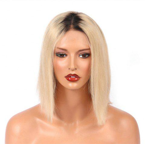 Short Bob Two Tone Black to Blonde Color Human Hair Lace Front Glueless Wig - BLONDE 12 INCHES