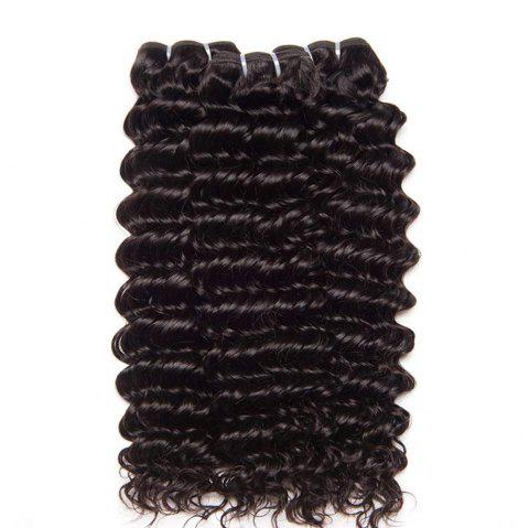 Indian Hair 3 Bundles with Closure Deep Curly Human Hair Extensions - NATURAL BLACK 14INCH X 16INCH X 18INCH X CLOSURE 12INCH