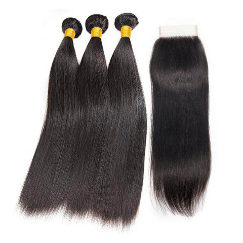 Brazilian Straight Human Hair Bundles With Lace Closure - NATURAL BLACK 20INCH X 20INCH X 20INCH X CLOSURE 18INCH