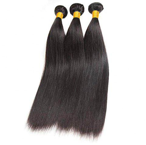 Peruvian Straight Human Hair 3 Bundles with Closure Straight Hair with Closure - NATURAL BLACK 18INCH X 20INCH X 22INCH X CLOSURE 16INCH