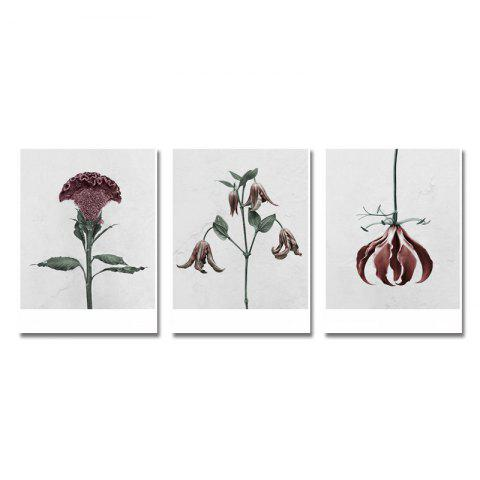 DYC 3PCS Withered Flowers Print Art - multicolor