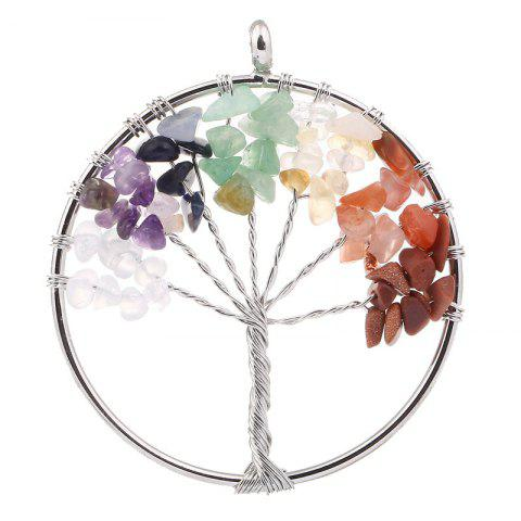 Natural Stone Ornaments 5CM Life Tree Pendant - multicolor C