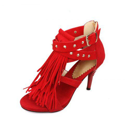 Slender High Heel Rivet Tassel Buckle Zipper Sandals - RED EU 42