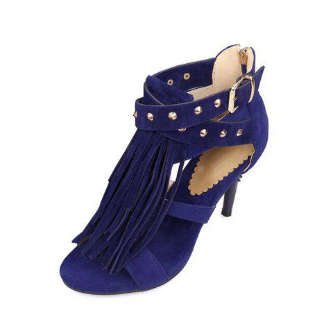 Slender High Heel Rivet Tassel Buckle Zipper Sandals - DEEP BLUE EU 41