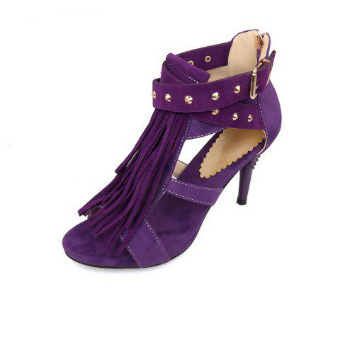 Slender High Heel Rivet Tassel Buckle Zipper Sandals - DULL PURPLE EU 39