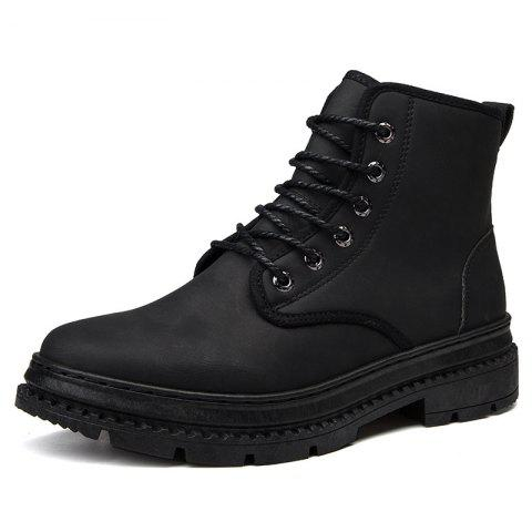 Men Leather British Wear-Resistant Non-Slip Casual Shoes Tooling Boots - BLACK EU 40
