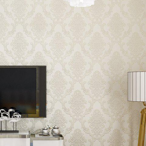 Floral 3D Non-woven Paper Material Self Adhesive Wallpaper - BEIGE 300X53CM