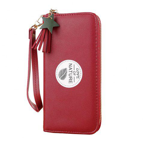 New Simple Long Mini Wallet Fashion Student Small Fresh Zip Coin Purse - RED ONE SIZE