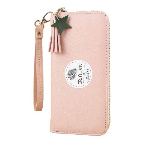 New Simple Long Mini Wallet Fashion Student Small Fresh Zip Coin Purse - PINK ONE SIZE