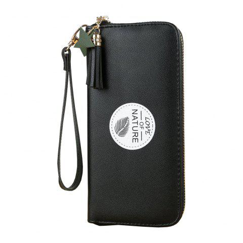 New Simple Long Mini Wallet Fashion Student Small Fresh Zip Coin Purse - BLACK ONE SIZE