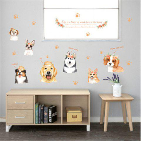 Cartoon Hand-Painted Dog PVC Wall Sticker Removable Sticker - multicolor A 50 X 70CM
