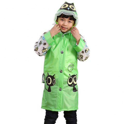 Long Cute Kids Children Raincoat with School Backpack Cover and Cartoon Hoods - GREEN APPLE M
