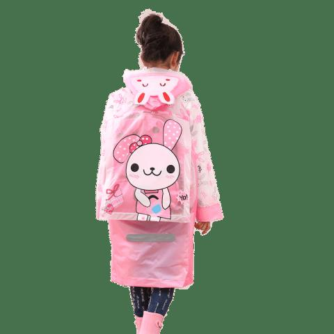 Long Cute Kids Children Raincoat with School Backpack Cover and Cartoon Hoods - HOT PINK 2XL