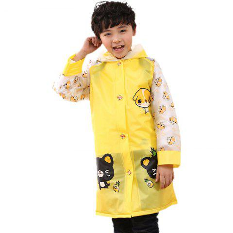 Long Cute Kids Children Raincoat with School Backpack Cover and Cartoon Hoods - CORN YELLOW L