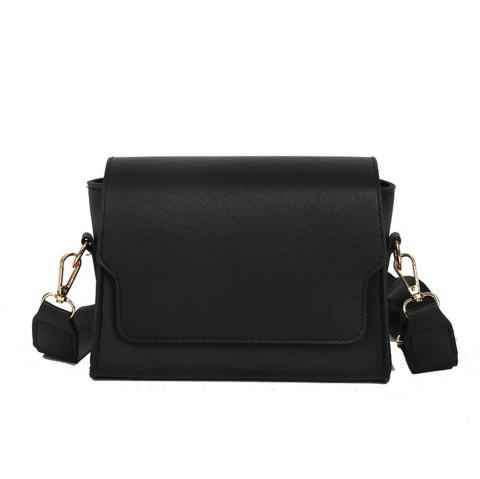 Fashion  PU Ladies Messenger Bag Simple Casual Shoulder Bag Small SquareBag - BLACK REGULAR