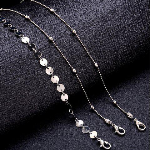 3-PIECE Women'S Simple Fashion Pop Beach Bead Chain Sequin Chain Anklet Set - SILVER