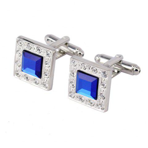 Silver Metal Square Blue Crystal Cufflinks for Men - SILVER 1 PAIR