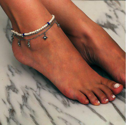Beach Starfish Pendant Multi-layered Anklet - SILVER 1PC
