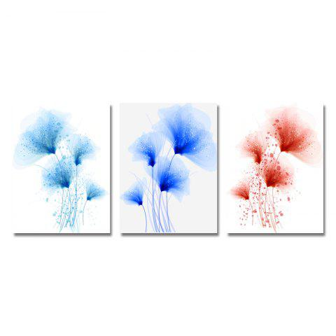 DYC 3PCS Sweet Elegant Flowers Print Art - multicolor