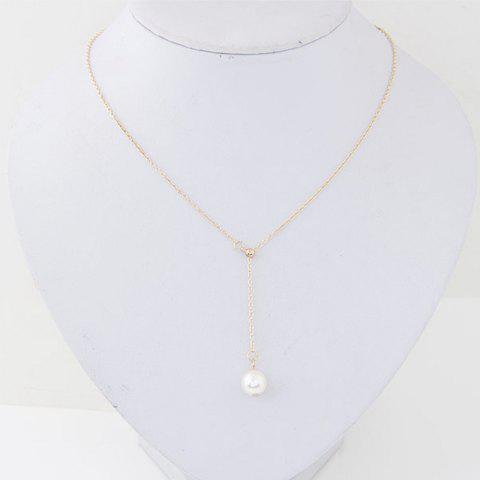 Fashion Sweet Simple Bead Pendant Adjustable Necklace - GOLD 1PC