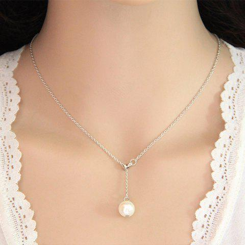 Fashion Sweet Simple Bead Pendant Adjustable Necklace - SILVER 1PC
