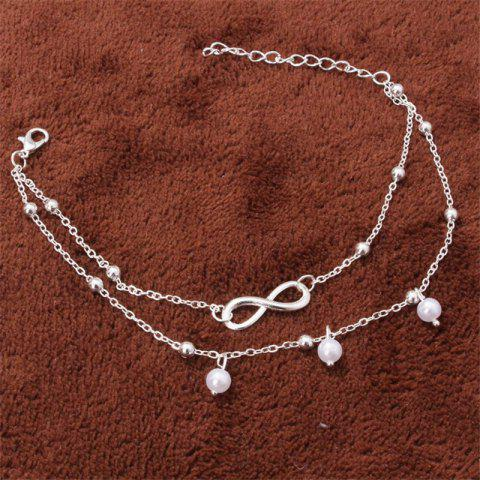 Fashion Alloy 8 Word Infinite Beads Double-Layer Anklet - SILVER 1PC