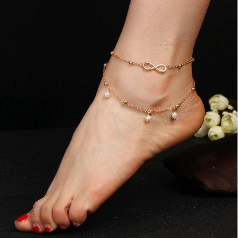 Fashion Alloy 8 Word Infinite Beads Double-Layer Anklet - GOLD 1PC