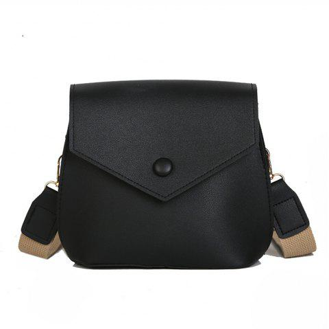 Casual PU Ladies Messenger Bag Fashion Trend Shoulder Bag - BLACK REGULAR