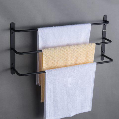 Nail-Free or Wall Mounted Rustproof Silky Matte Finished Three Towel Bars - BLACK 45CM