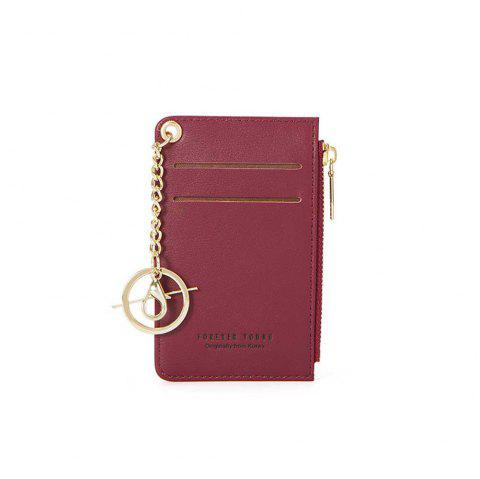 Stylish Short Purse with Multi-Seat Zipper Card for Women - RED WINE