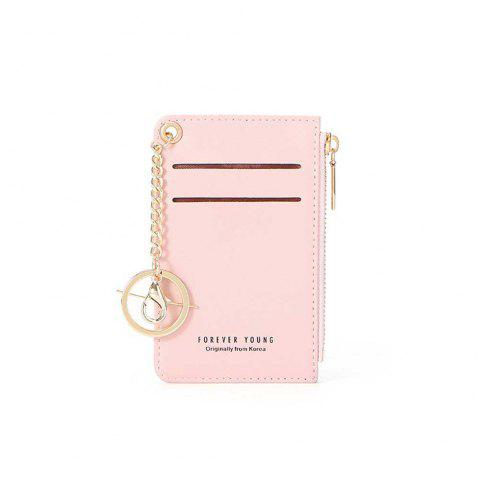 Stylish Short Purse with Multi-Seat Zipper Card for Women - PINK
