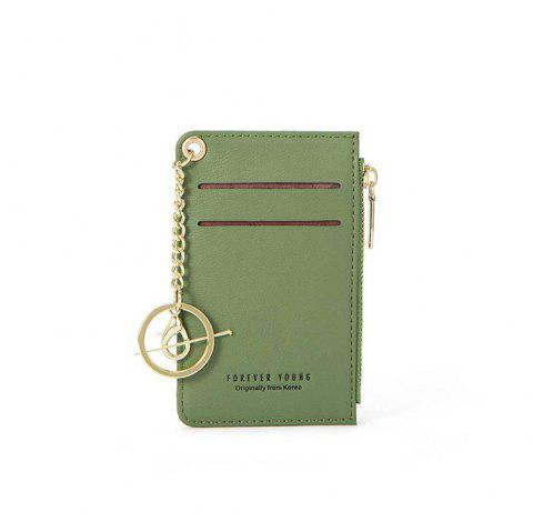Stylish Short Purse with Multi-Seat Zipper Card for Women - GREEN