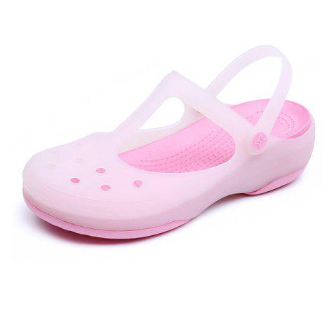 Jelly Non-Slippery Beach Hole Shoes - PINK EU 38
