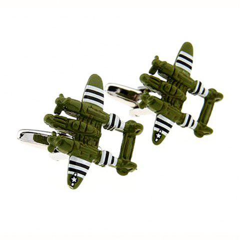 Alloy Material Paint Craft World War Ii Aircraft Model Men Cufflinks - HAZEL GREEN 2PCS