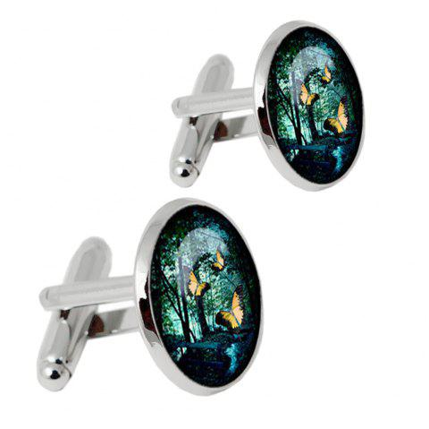 Alloy Material Oil Dripping Process Color Flying Butterfly Pattern Men Cufflinks - SILVER 2PCS