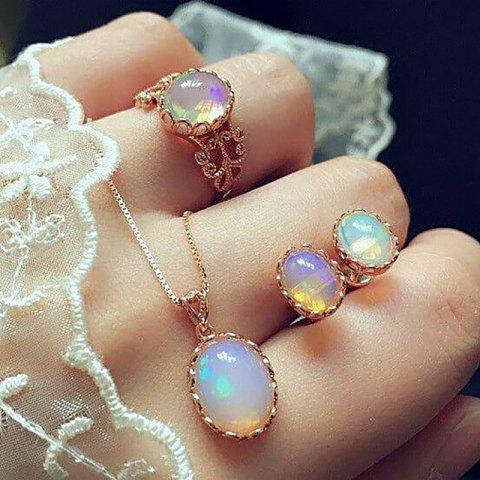 Vintage Opal Jewelry Sets For Woman Pendant Necklaces Water Drop Earrings Ring - GOLD