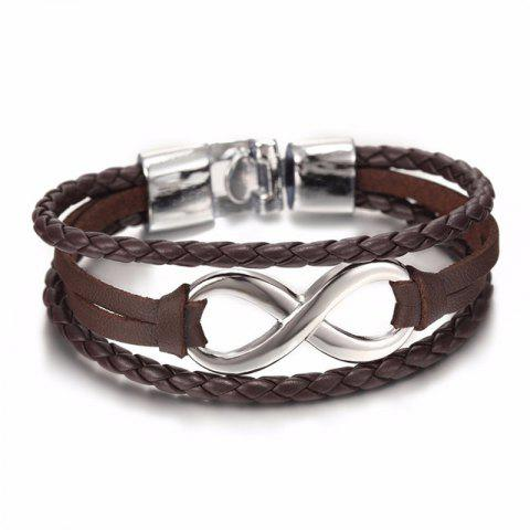 Fashion Men's 8 Word Leather Bracelet - BROWN