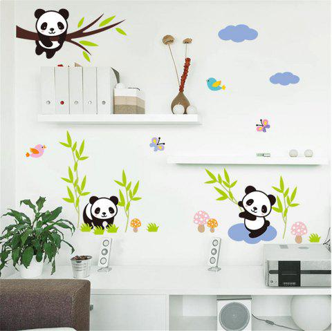 Cartoon Panda Bamboo Butterfly Bird Walls Home Decorations Removable Sticker - multicolor A 14 X 20 INCH
