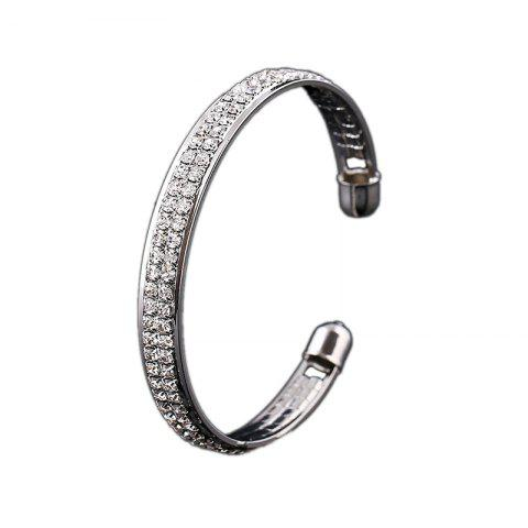 Ladies Simple Fashion 2 Rows Full of Diamond Open Bracelet Bracelet - SILVER