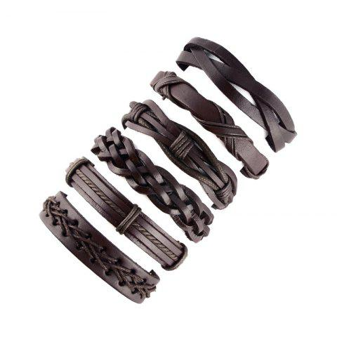 Men'S Fashion Leather Hand-Knitted Bracelet - DEEP BROWN PACK OF 6