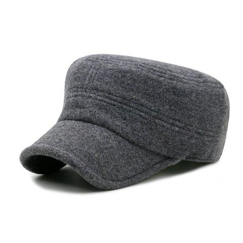 Autumn and winter fashion cover ear wool military cap outdoor leisure warm flat - DARK GRAY