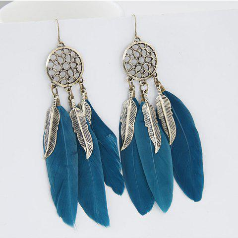 European Style Fashion Bohemian Ethnic Feather Drop Earrings - BLUE 1 PAIR